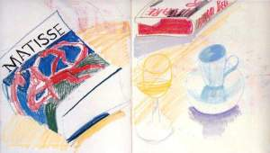 By Hockney - Still-life with a book of 'The Dance' by Matisse on its cover
