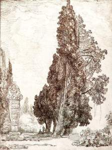 By Robert, Hubert - Study of cypress in a park