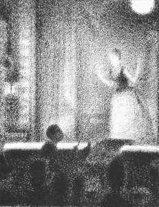 By Seurat - Orchestra conductor looking at the singer