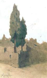 By Urgell, Modest - Two cypresses and bats at the dusk