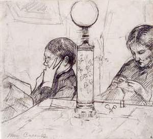 By Cassatt, Mary - A woman sewing beside another that reads