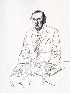 By Hockney - A gentleman with his left hand on a book