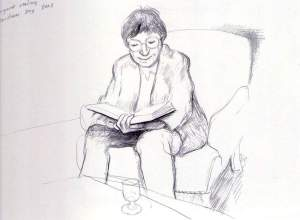 By Hockney - Margaret reads