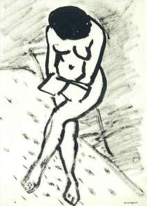 By Marquet - Naked girl with a book