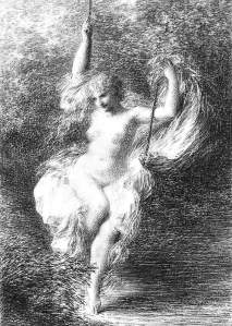 By Fantin-Latour - Naked girl on a swing