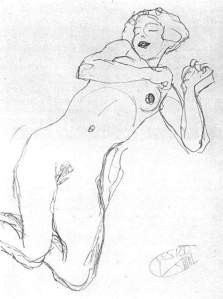 By Klimt - A lass lying