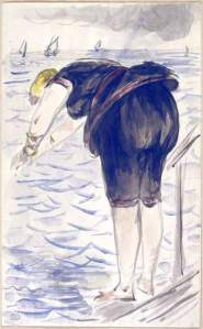 By Manet - Swimmer ready to dive headfirst into the water