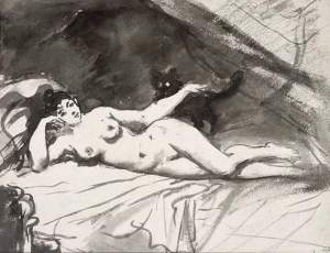 By Manet - Woman lying on a bed caressing her pet
