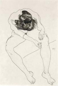 By Schiele - Seated girl with hands on her knee
