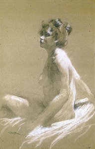 By Bakst, Leon - The sitter of the chignon posing
