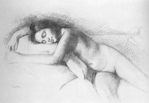 By Balthus - A lass posing naked