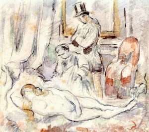 By Cézanne, after Manet - The artist, the servant and the cat, looking at the sitter