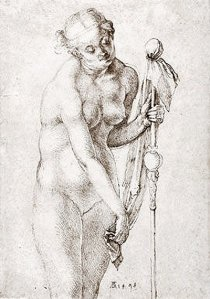 By Dürer - Woman holding a stick