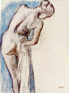By Degas - Naked woman holding a towel seen from rear