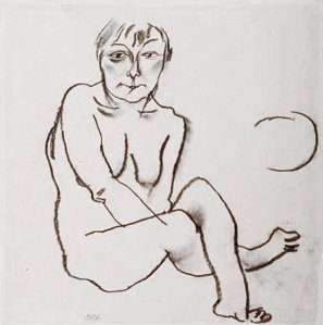 By Grosz, G. - Short-haired woman with her hands between her legs