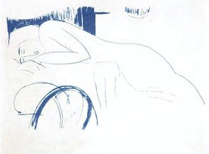 By Modigliani - Female nude drowsy