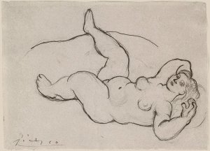 By Picasso - Woman posing on a bed seen from above