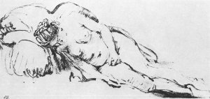 By Rembrandt - Sleeping woman