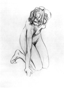 By Serov, V. Alexandrovich - Study of a naked kneeling girl