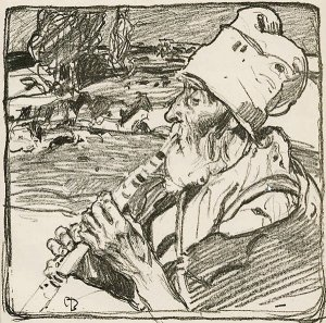 By Brangwyn, Frank - The shepherd flutist