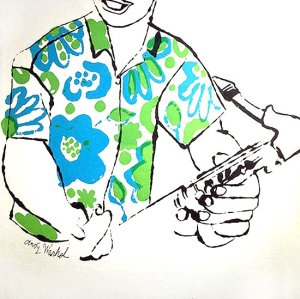 By Warhol - Sketch of a saxophonist for a record's cover of Johnny Griffin