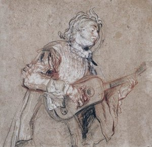 By Watteau - A young man playing the spanish vihuela