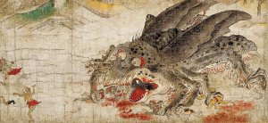 By anonymous japanese master of scrolls of 12th century - The Divine Insect of The Extermination