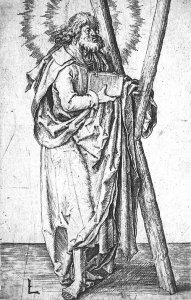 By Van Leyden, Lucas - St Andrew holding the Shaped Cross. With the shape of the X from the Roman number of ten