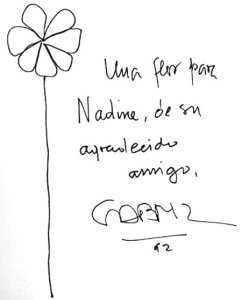By Gabriel García Márquez - Sketch of a flower with dedicatory