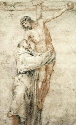 By Murillo, Bartolomé Esteban - St Francis at the foot of the cross embracing Jesus