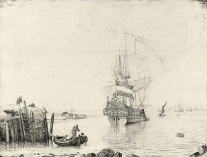 By De Velde, The Elder - A view of a dutch ship on the coast