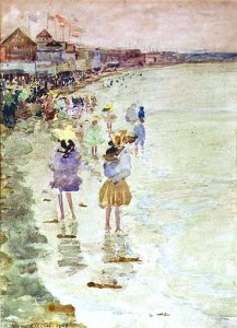 By Prendergast, Maurice - A group of girls on the shore of a beach