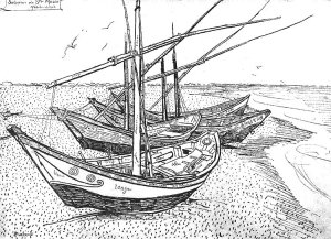By Van Gogh - Fishing boats at the french region of Camargue