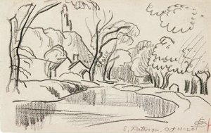 By Bluemner, Oscar F. - Landscape with river
