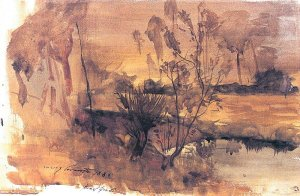 By Corinth, Lovis - Pond at sunset
