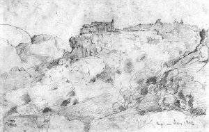 By Corot - A view of Nepi town in Italy, from a below angle
