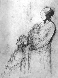 By Daumier - A beggar woman and two children