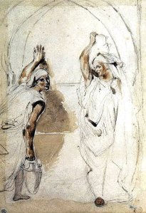 By Delacroix - Two young women with pitchers of water beside a well