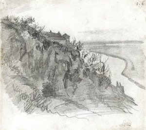 By Delacroix - View of a hill over a river