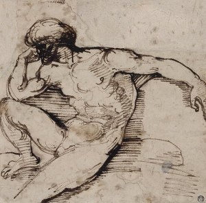 By Géricault - Seated male nude with turban