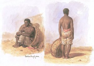 By Hildebrandt, Eduard - Two sketches of a brazilian man in Bahia