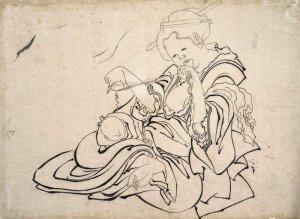 By Hokusai, Katsushika - Woman and baby