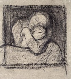 By Kollwitz, Käthe - A mother presses her child to her bosom