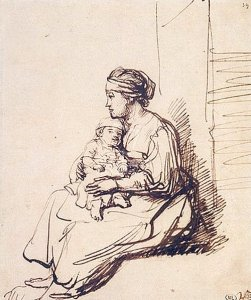 By Rembrandt - A seated mother and son