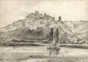 By Rousseau, Théodore - A view of the ruins of the Château Gaillard