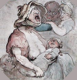 By Rowlandson, Thomas - A woman breastfeeds a child