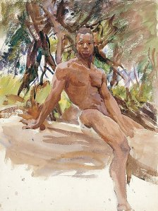 By Singer Sargent - Man under the trees in Florida