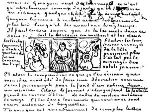 By Van Gogh - Detail. Sketches of a woman and sunflowers, in a letter to his brother Theo
