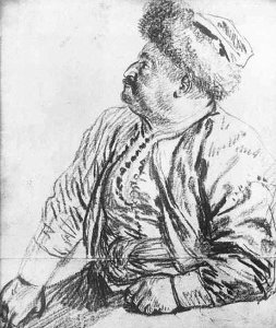 By Watteau, Antoine - A seated persian man