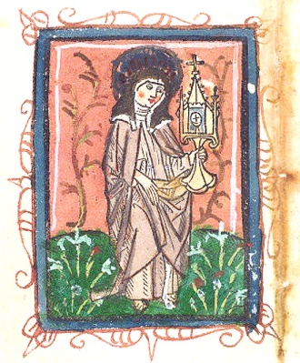 By anonymous german author of15th century - Saint Clare holding a sacred vessel in a flowery meadow at the sunset